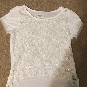 White Lace shirt sleeve top